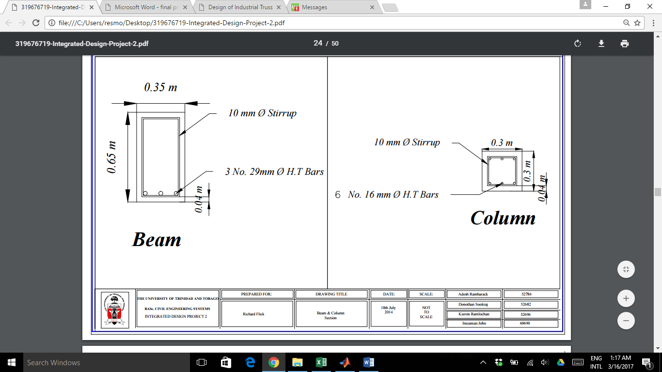 Drawings of Beam and Column